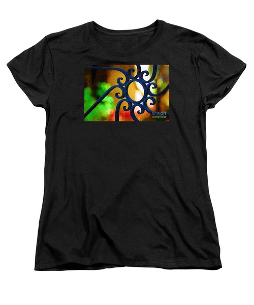 Women's T-Shirt (Standard Cut) featuring the photograph Circle Design On Iron Gate by Donna Bentley