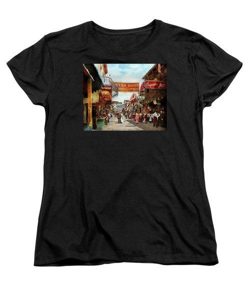 Women's T-Shirt (Standard Cut) featuring the photograph City - Coney Island Ny - Bowery Beer 1903 by Mike Savad