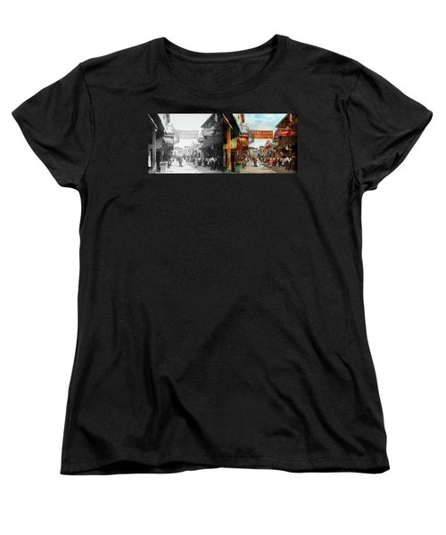 Women's T-Shirt (Standard Cut) featuring the photograph City - Coney Island Ny - Bowery Beer 1903 - Side By Side by Mike Savad