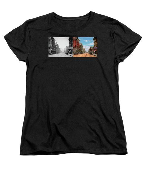 Women's T-Shirt (Standard Cut) featuring the photograph City - Memphis Tn - Main Street Mall 1909 - Side By Side by Mike Savad