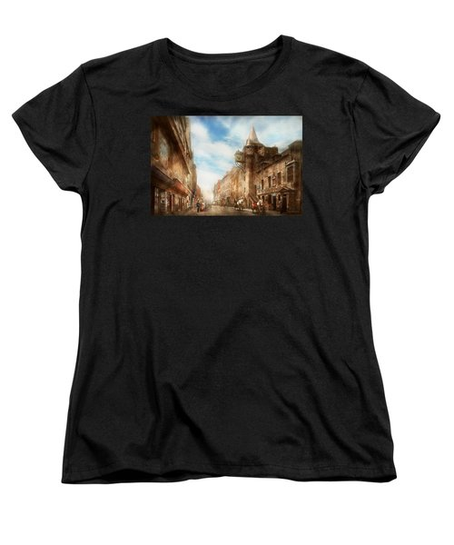 Women's T-Shirt (Standard Cut) featuring the photograph City - Scotland - Tolbooth Operator 1865 by Mike Savad