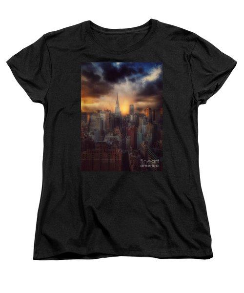 City Splendor - Sunset In New York Women's T-Shirt (Standard Cut) by Miriam Danar