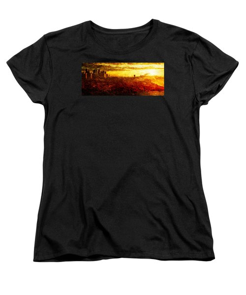 Women's T-Shirt (Standard Cut) featuring the digital art Cityscape Sunset by Andrea Barbieri