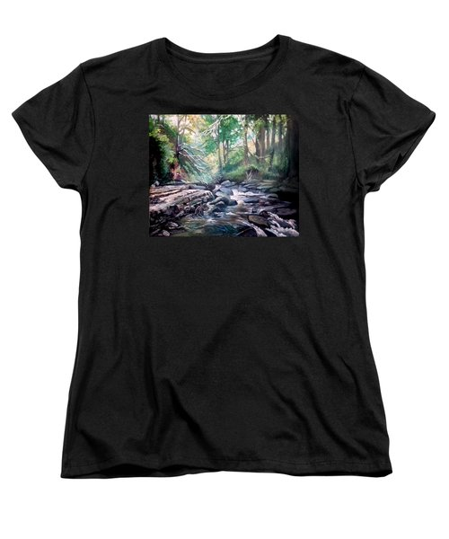 Women's T-Shirt (Standard Cut) featuring the painting Clare Glens ,co Tipparay Ireland by Paul Weerasekera