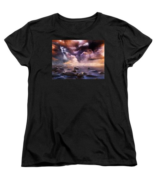 Women's T-Shirt (Standard Cut) featuring the mixed media Clash Of The Clouds by Gabriella Weninger - David