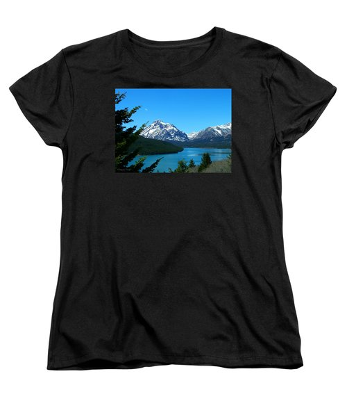 Clear Blue Lower Two Med Lake Women's T-Shirt (Standard Cut)