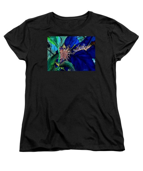 Clematis Regal In Purple And Blue Sold Women's T-Shirt (Standard Cut) by Lil Taylor