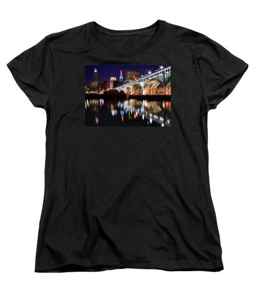 Cleveland Ohio Skyline Women's T-Shirt (Standard Cut) by Frozen in Time Fine Art Photography