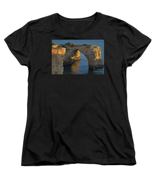Cliff Arch In Albandeira Beach During Sunset 2 Women's T-Shirt (Standard Cut) by Angelo DeVal