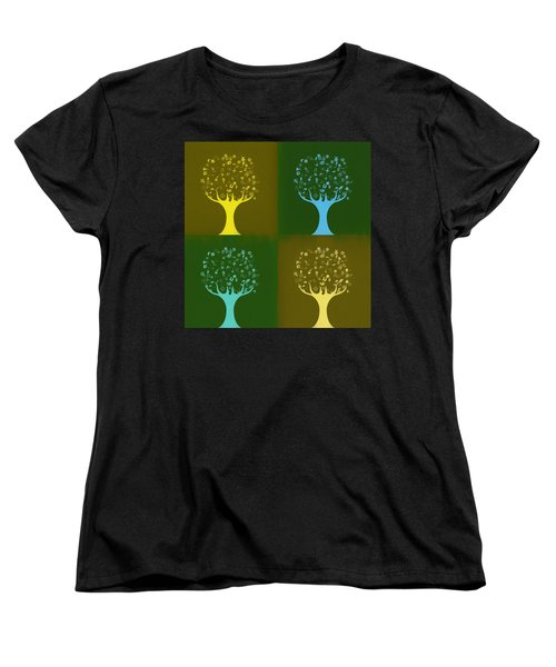 Women's T-Shirt (Standard Cut) featuring the mixed media Clip Art Trees by Dan Sproul