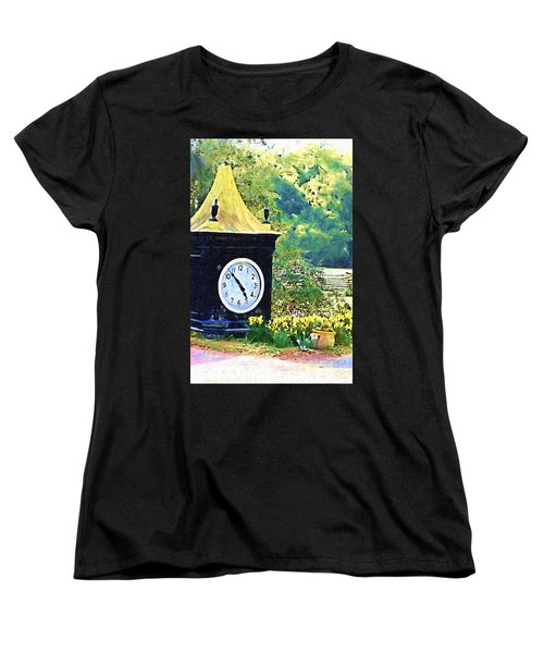 Women's T-Shirt (Standard Cut) featuring the photograph Clock Tower In The Garden by Donna Bentley