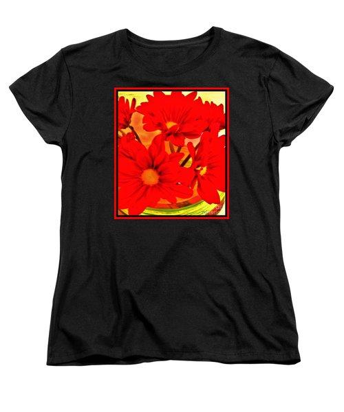 Close Up Red Gerbers Women's T-Shirt (Standard Cut) by Marsha Heiken