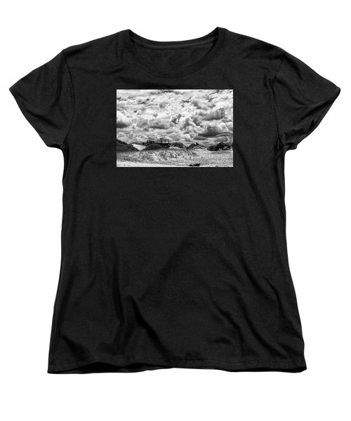 Women's T-Shirt (Standard Cut) featuring the photograph Cloudy Beach Black And White By Kaye Menner by Kaye Menner