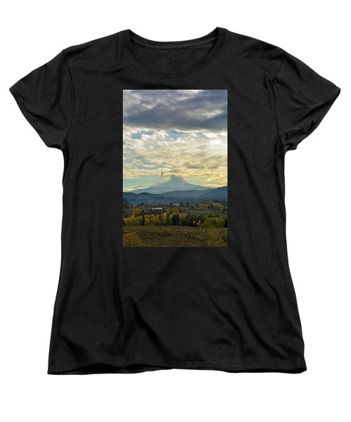 Cloudy Day Over Mount Hood At Hood River Oregon Women's T-Shirt (Standard Fit)