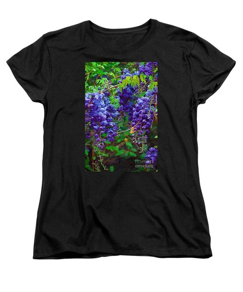 Women's T-Shirt (Standard Cut) featuring the photograph Clusters Of Wisteria by Donna Bentley