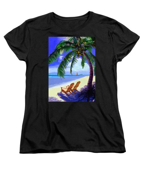 Women's T-Shirt (Standard Cut) featuring the painting Coconut Palm by David  Van Hulst
