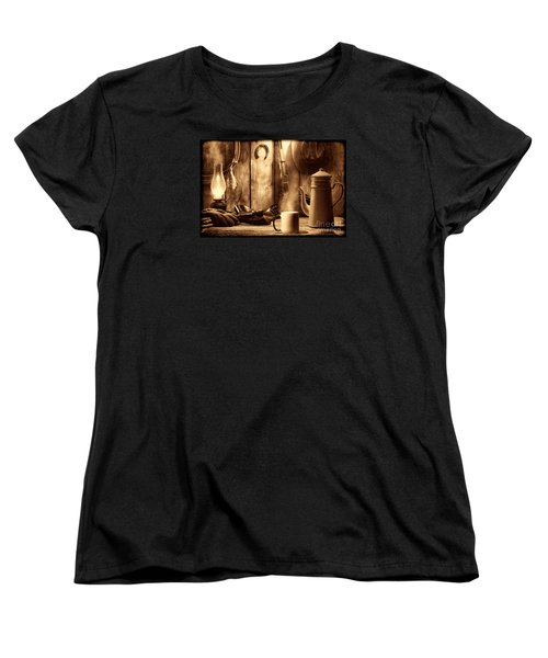 Coffee At The Cabin Women's T-Shirt (Standard Cut) by American West Legend By Olivier Le Queinec