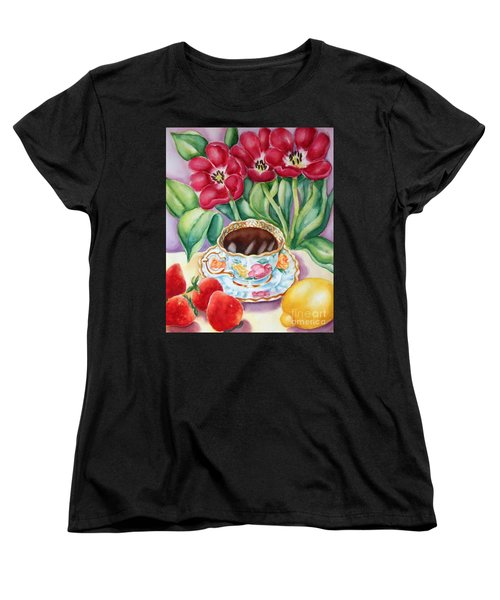Women's T-Shirt (Standard Cut) featuring the painting Coffee With Flavour by Inese Poga
