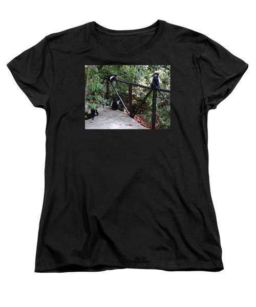 Colobus Monkeys At Sands Chale Island Women's T-Shirt (Standard Fit)
