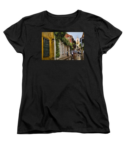 Colonial Buildings In Old Cartagena Colombia Women's T-Shirt (Standard Cut) by David Smith