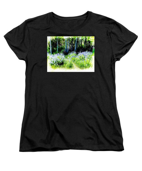 Women's T-Shirt (Standard Cut) featuring the photograph Colorado Apens And Flowers by Joseph Hendrix