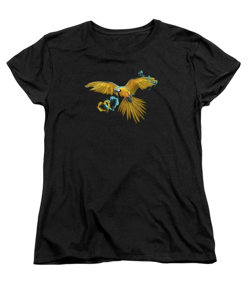 Colorful Blue And Yellow Macaw Women's T-Shirt (Standard Cut) by Maria Astedt