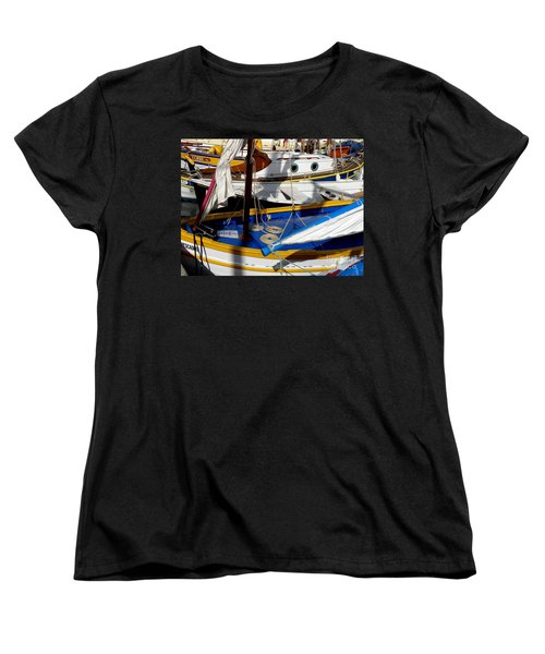 Colorful Boats Women's T-Shirt (Standard Cut) by Lainie Wrightson