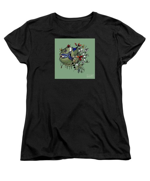 Colorful Hummingbird Ink And Pencil Drawing Women's T-Shirt (Standard Cut) by Saribelle Rodriguez