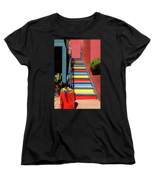 Women's T-Shirt (Standard Cut) featuring the photograph Colorful Stairs by James Eddy