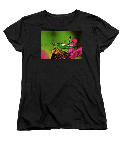 Women's T-Shirt (Standard Cut) featuring the photograph Colors Of Nature - Grasshopper On A Zinnia 001 by George Bostian