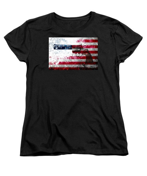 Colt Python 357 Mag On American Flag Women's T-Shirt (Standard Cut) by M L C