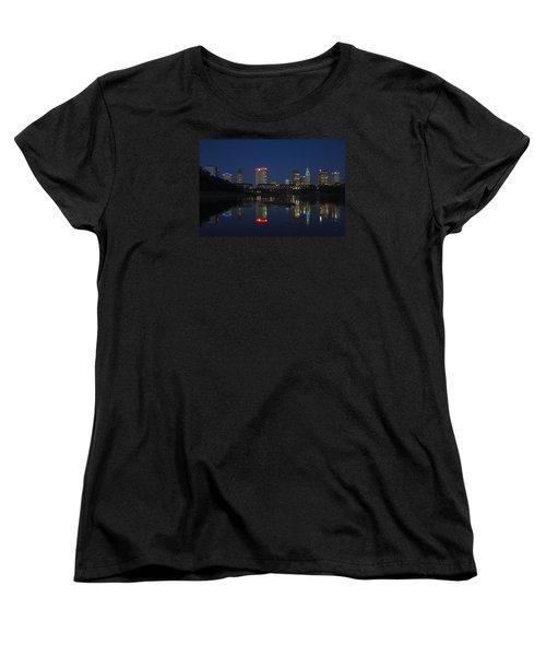 Women's T-Shirt (Standard Cut) featuring the photograph Columbus Night Reflection by Alan Raasch