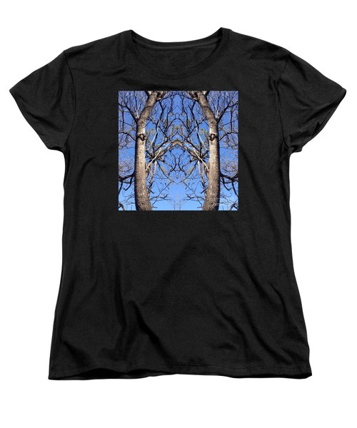Conjoined Tree Collage Women's T-Shirt (Standard Cut) by Nora Boghossian