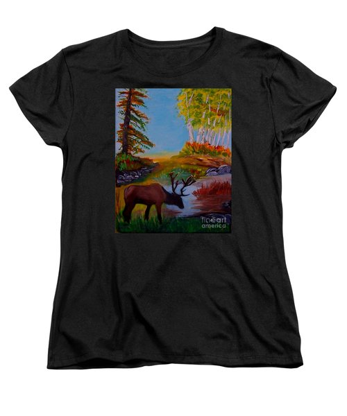 Women's T-Shirt (Standard Cut) featuring the painting Cool Drink by Leslie Allen