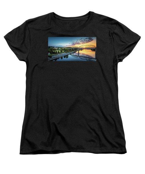 Coolidge Park Sunrise Panoramic Women's T-Shirt (Standard Cut) by Steven Llorca