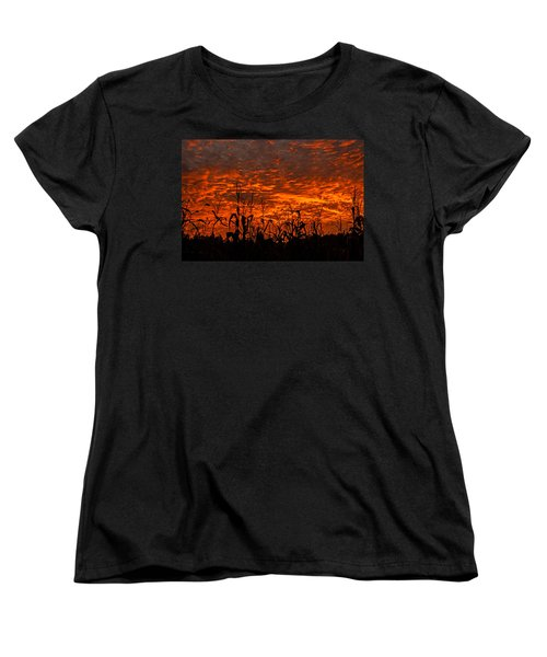 Corn Under A Fiery Sky Women's T-Shirt (Standard Cut) by John Harding