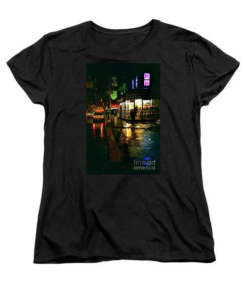 Corner In The Rain Women's T-Shirt (Standard Cut) by Miriam Danar