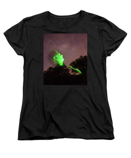 Cosmic Selfie In Green Women's T-Shirt (Standard Cut) by Carolina Liechtenstein