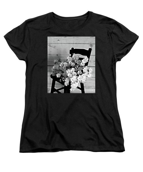 Country Porch In B And W Women's T-Shirt (Standard Cut) by Sherry Hallemeier