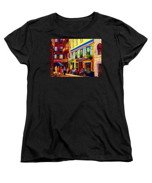 Courtyard Cafes Women's T-Shirt (Standard Cut) by Carole Spandau