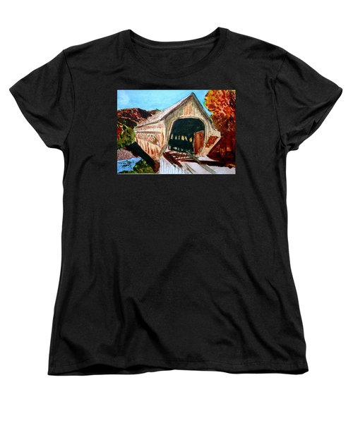 Women's T-Shirt (Standard Cut) featuring the painting Covered Bridge Woodstock Vt by Donna Walsh
