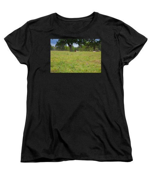 Cow Surrounded By Her Fans Women's T-Shirt (Standard Cut)