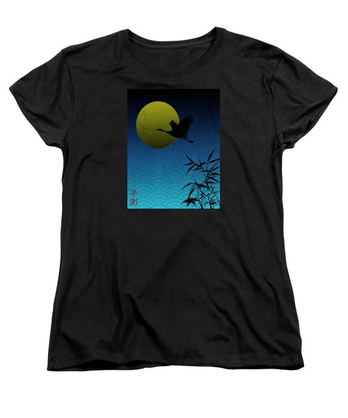 Crane And Yellow Moon Women's T-Shirt (Standard Cut) by Christina Lihani