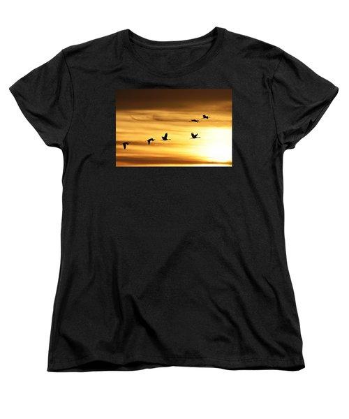 Women's T-Shirt (Standard Cut) featuring the photograph Cranes At Sunrise 2 by Larry Ricker