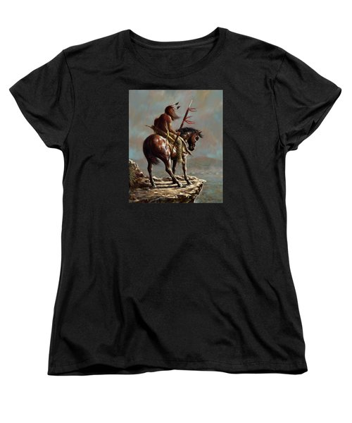 Women's T-Shirt (Standard Cut) featuring the painting Crazy Horse_digital Study by Harvie Brown