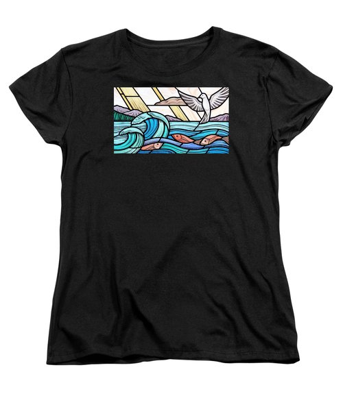 Creation Of The Sea And Sky Women's T-Shirt (Standard Cut) by Gilroy Stained Glass