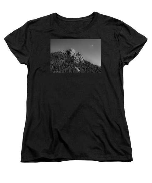 Women's T-Shirt (Standard Cut) featuring the photograph Crescent Moon And Buffalo Rock by James BO Insogna
