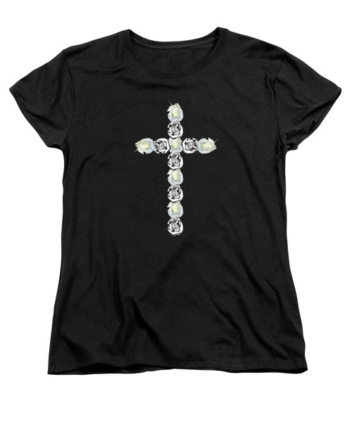Cross Of Silver And White Roses Women's T-Shirt (Standard Cut) by Rose Santuci-Sofranko