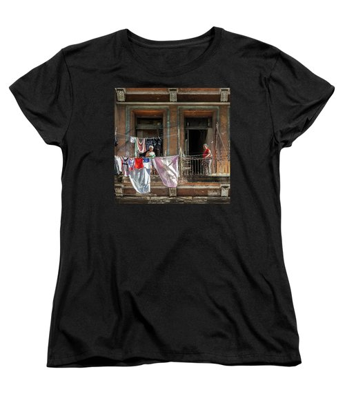 Women's T-Shirt (Standard Cut) featuring the photograph Cuban Women Hanging Laundry In Havana Cuba by Charles Harden