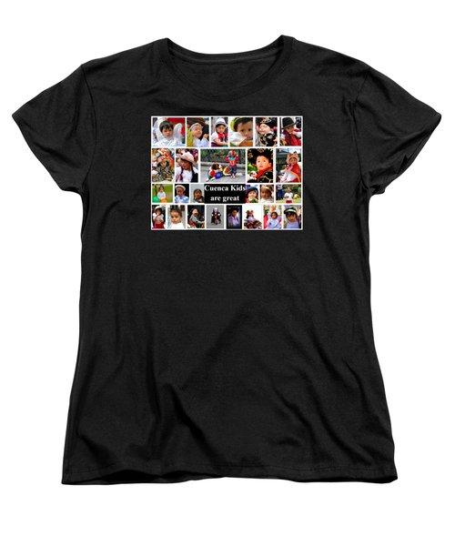 Cuenca Kids Collage Women's T-Shirt (Standard Cut) by Al Bourassa